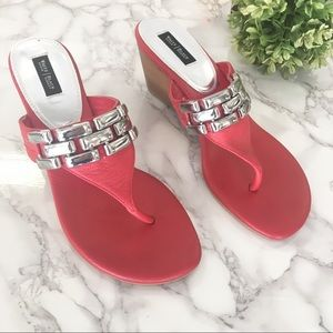 White House Black Market Daphne Wedges red